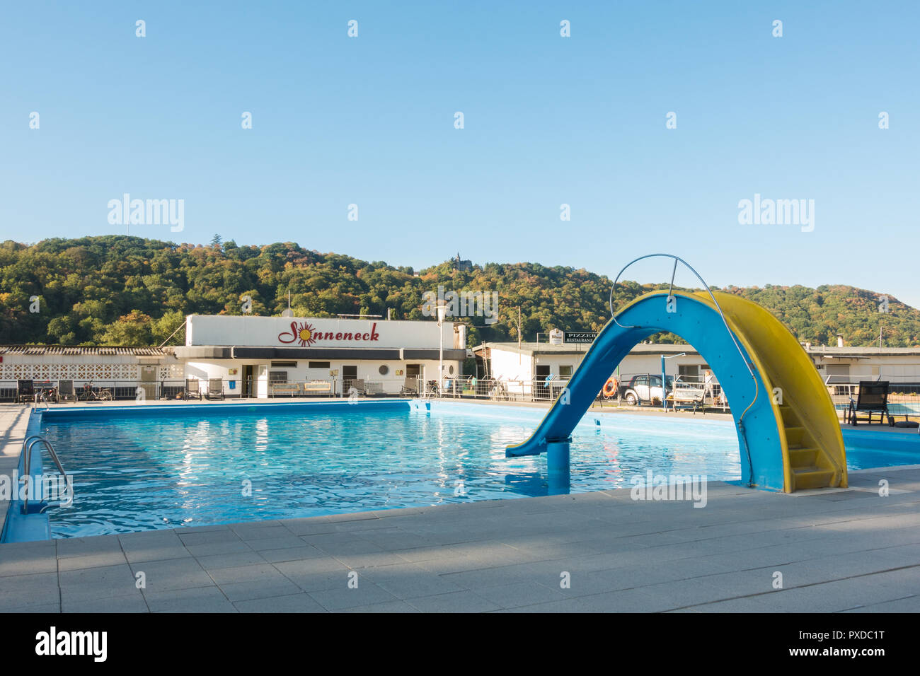 German campsite by the Rhine with swimming pool - Sonneneck camping, Boppard, Germany, Europe - Stock Image