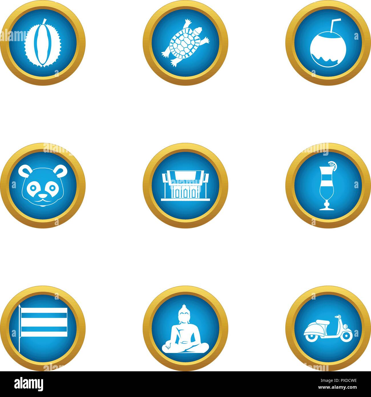 Asie icons set, flat style - Stock Image