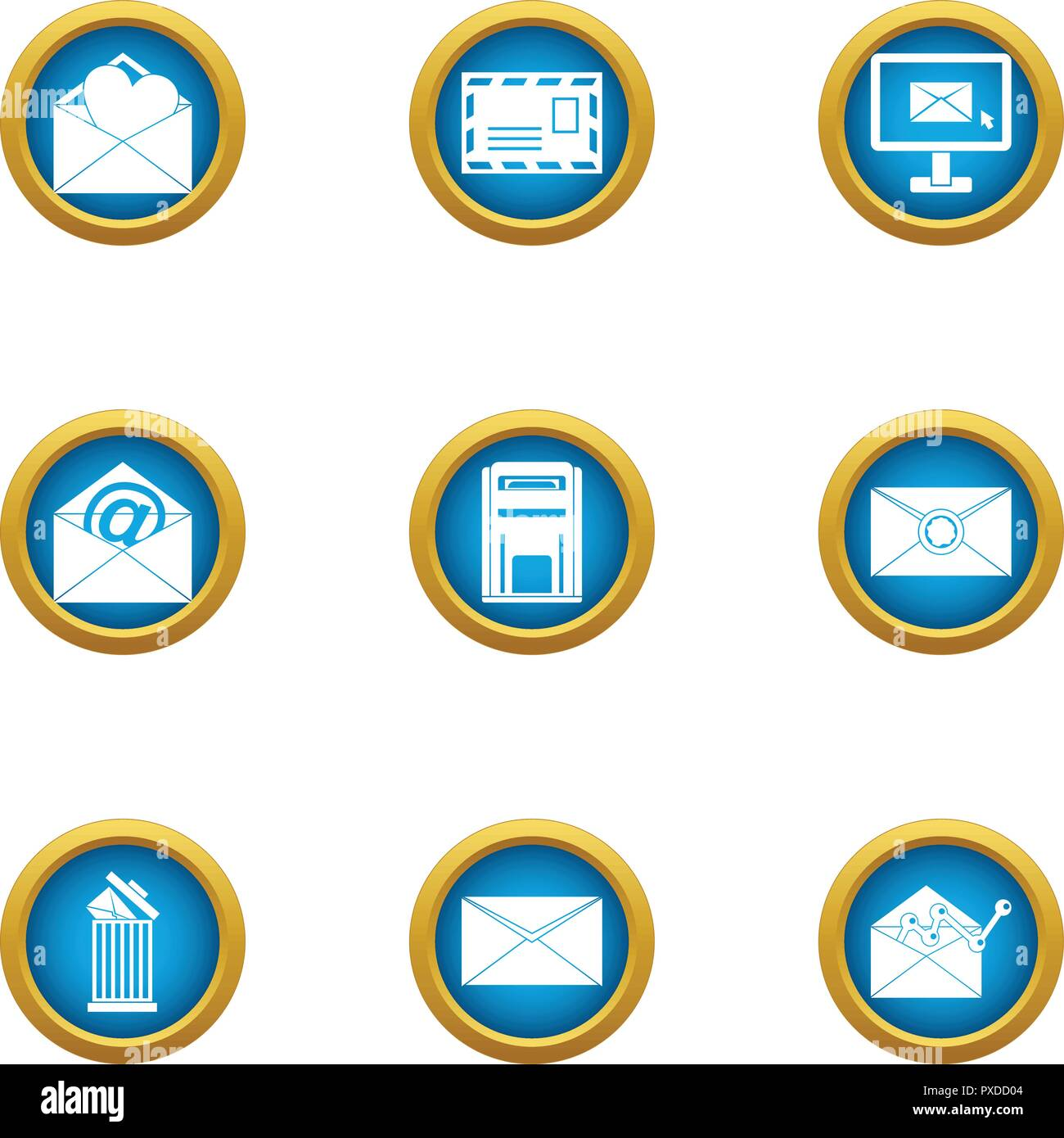 Letter delivery icons set, flat style - Stock Vector