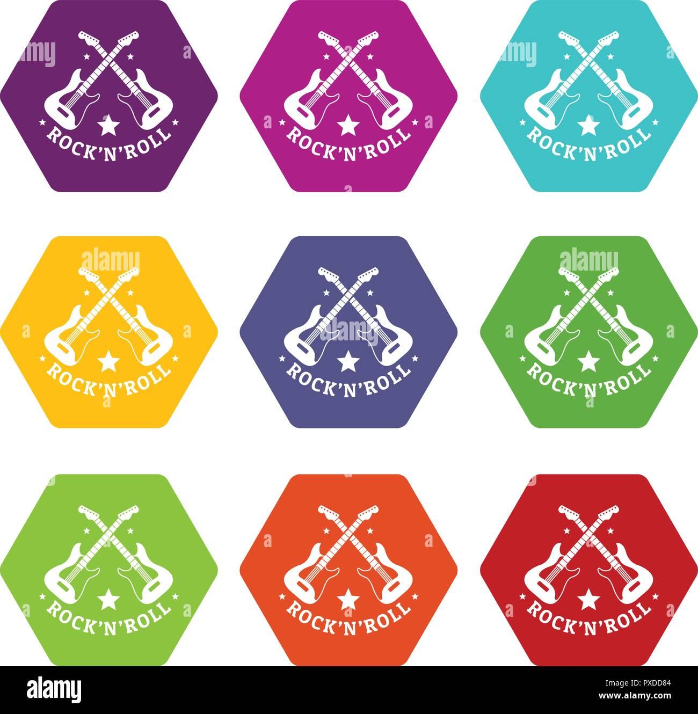 4bc16a8dd Rock n roll icons set 9 vector Stock Vector Art & Illustration ...