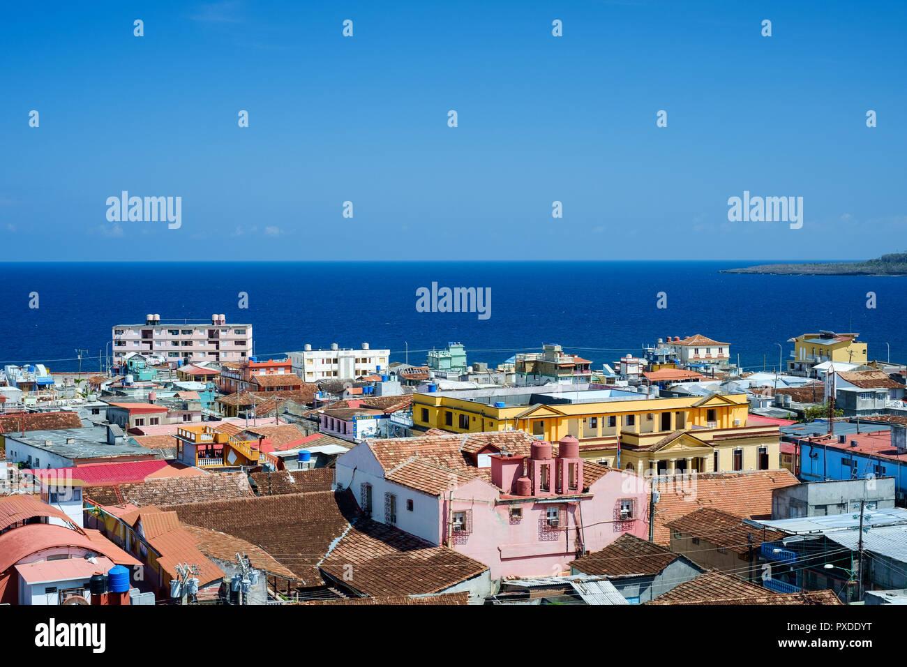 Baracoa Roof-tops, overlooking the bay - Stock Image