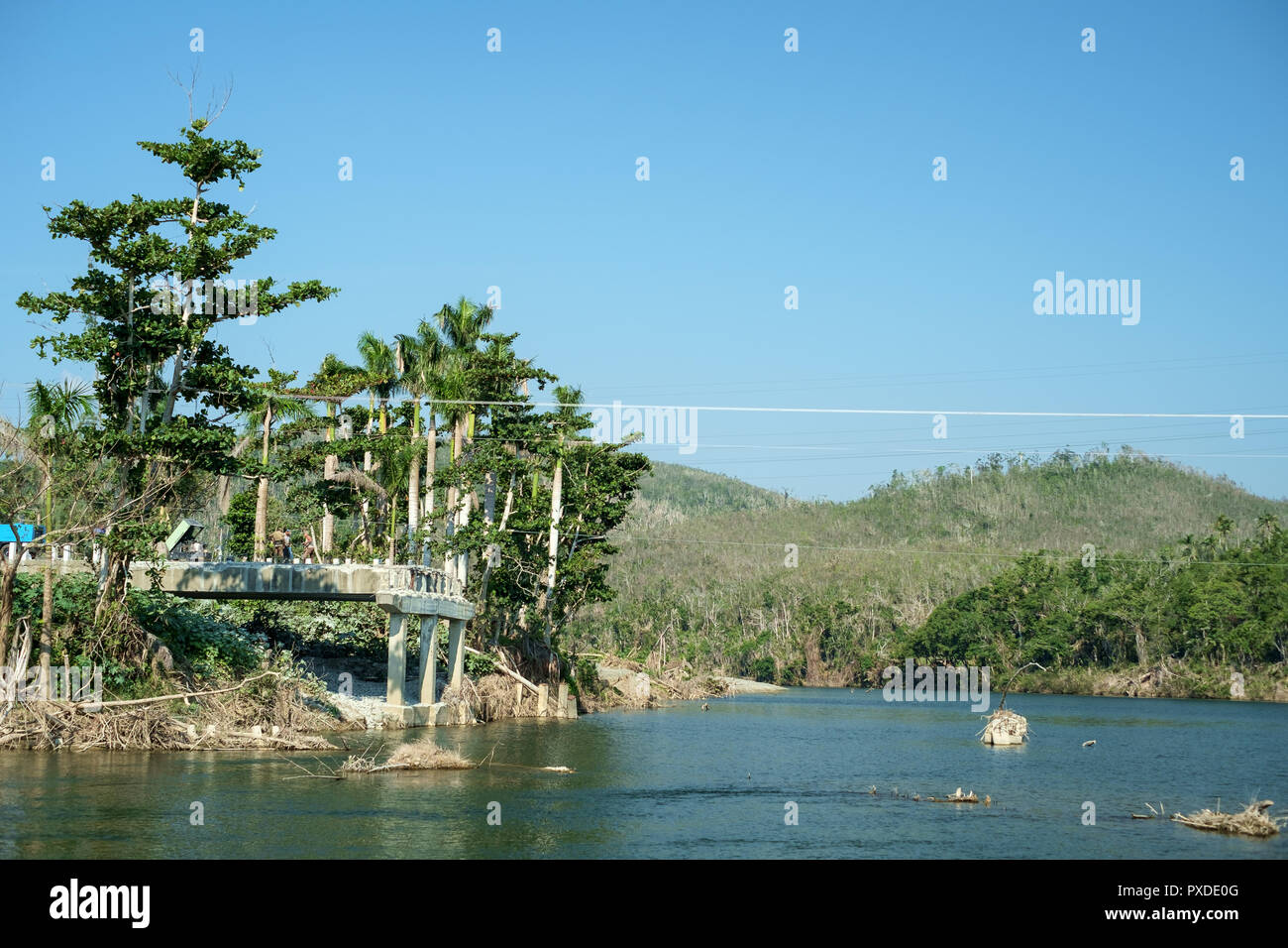 Teh End of a Road Bridge at River Toa, Baracoa, Cuba - Stock Image