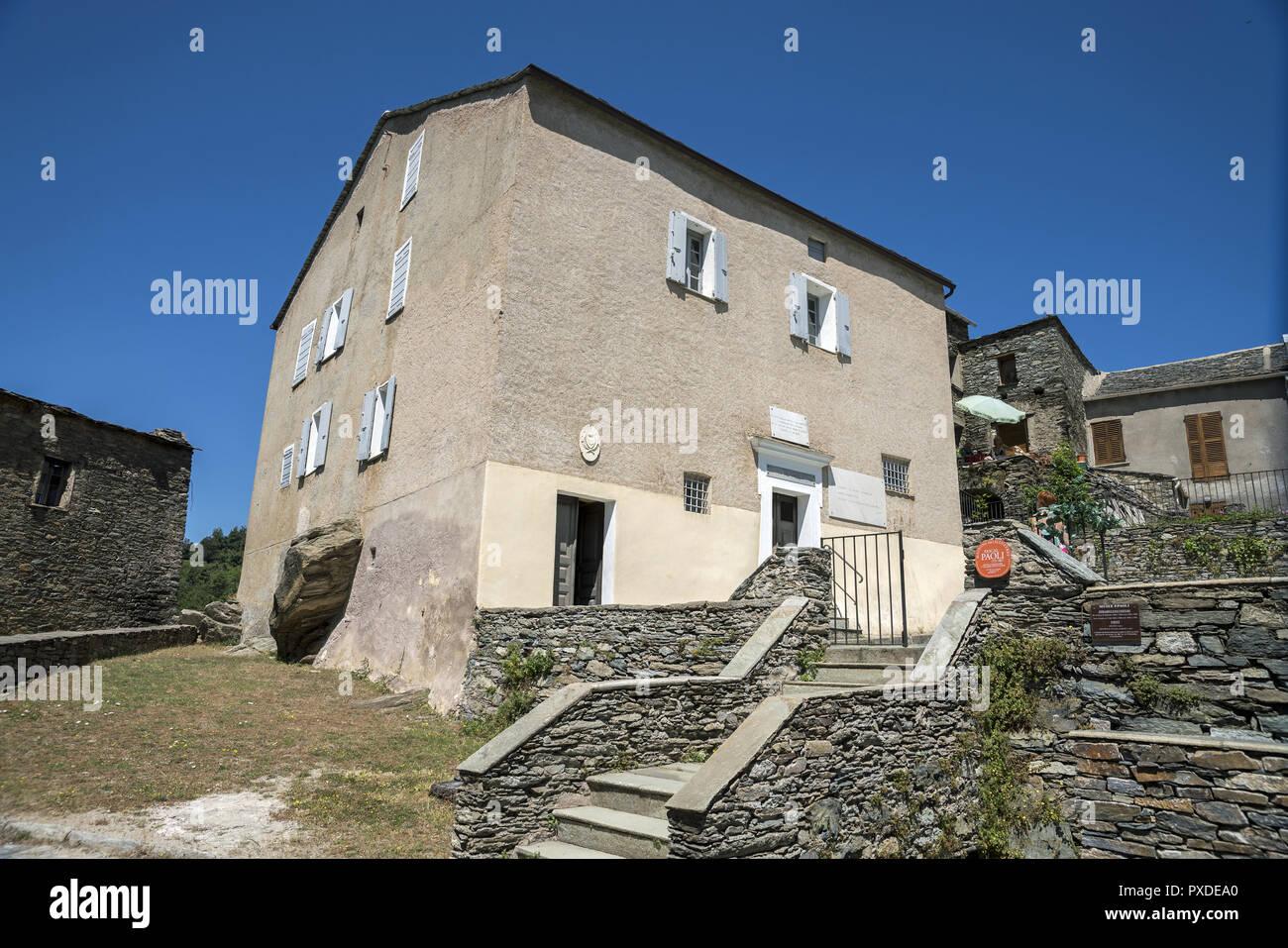 A family home, the birthplace of Pasquale Paoli. Ein Einfamilienhaus, der Geburtsort von Pasquale Paoli. Rodzinny dom miejsce urodzenia Pasquale Paoli - Stock Image