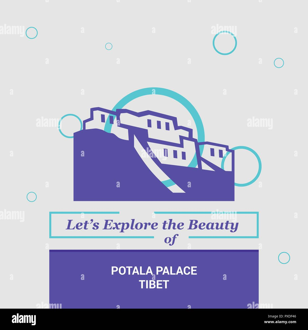 Let's Explore the beauty of Potala Palace, Tibet National Landmarks - Stock Vector