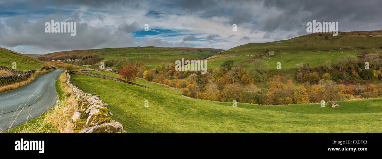 Yorkshire Dales National Park panoramic autumn landscape, West Stonesdale from Keld, Swaledale - Stock Image