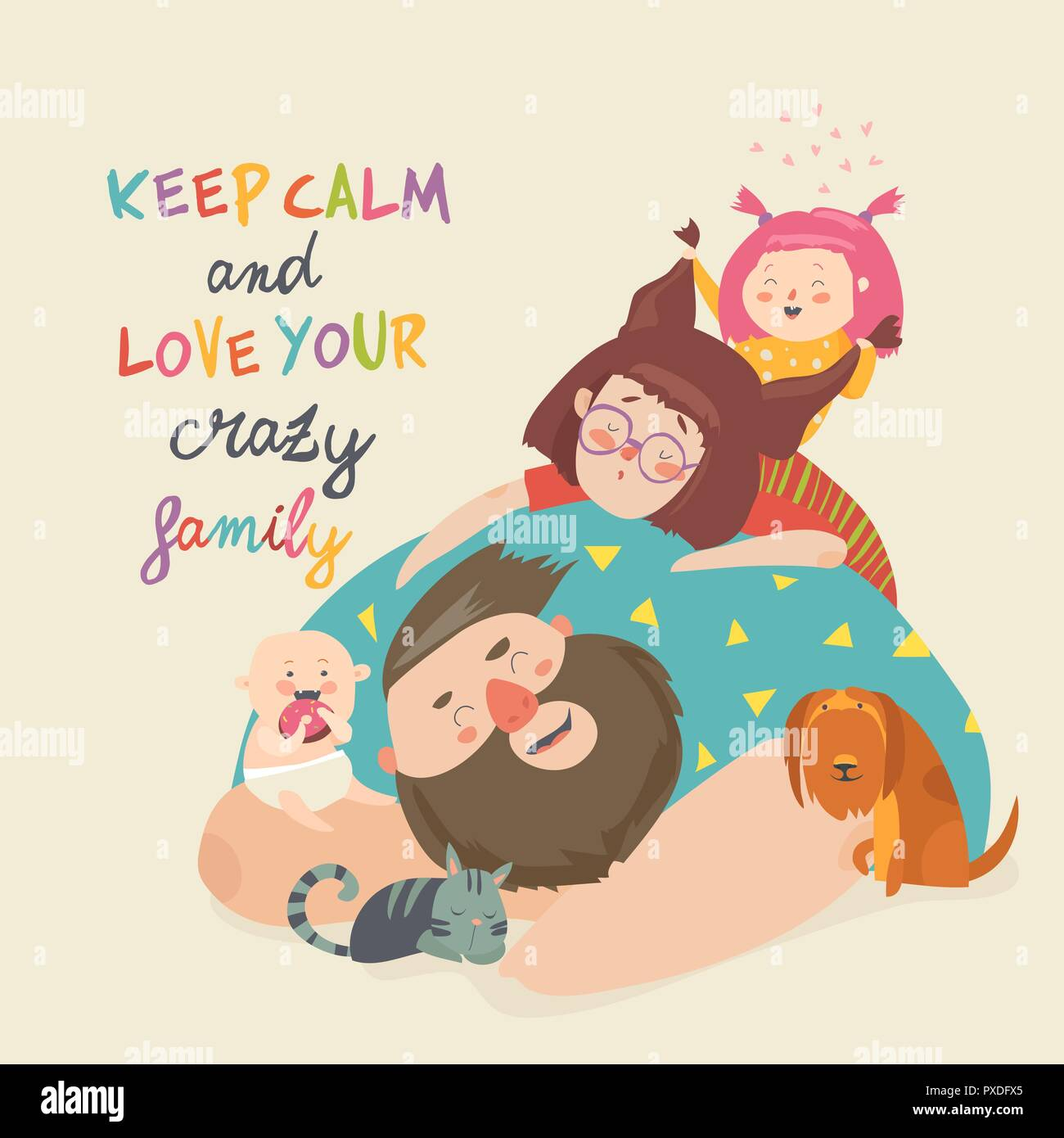 Portrait of cute crazy family. Mother, father, children, pets - Stock Image