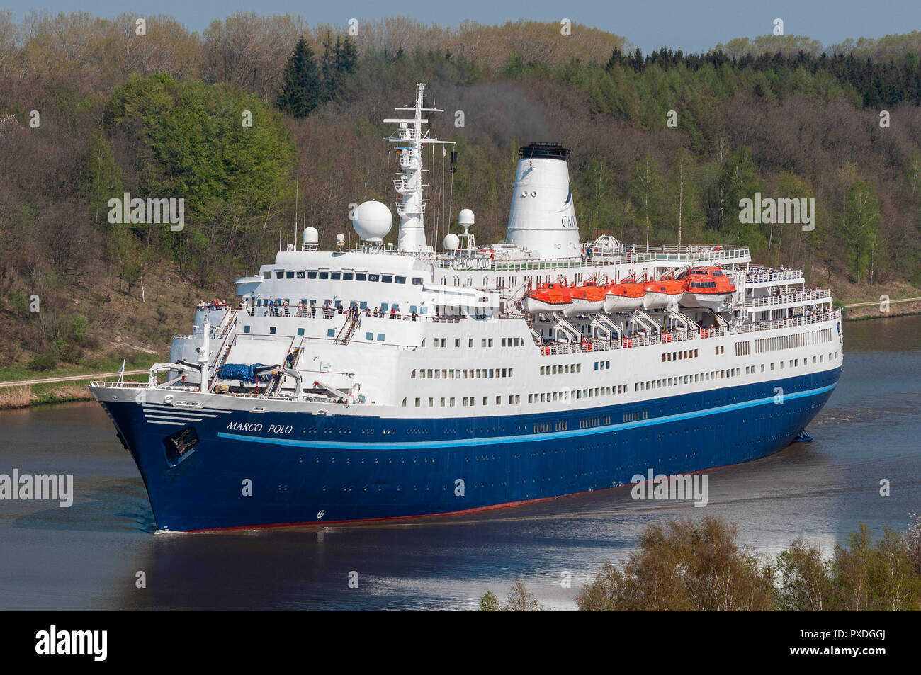 Cruiseship Marco Polo in the Kiel canalStock Photo