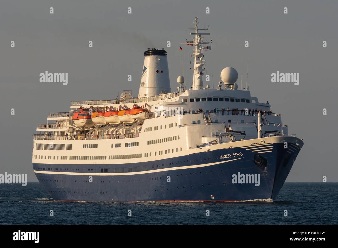 Cruiseship Marco Polo inbound Kiel fjord, bound for Holtenau locks, later Kiel canal Stock Photo