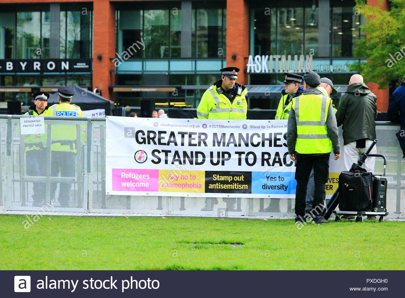 Event organisers at Stand Up To Racism Demonstration Piccadilly Gardens Manchester UK Afternoon - Stock Image