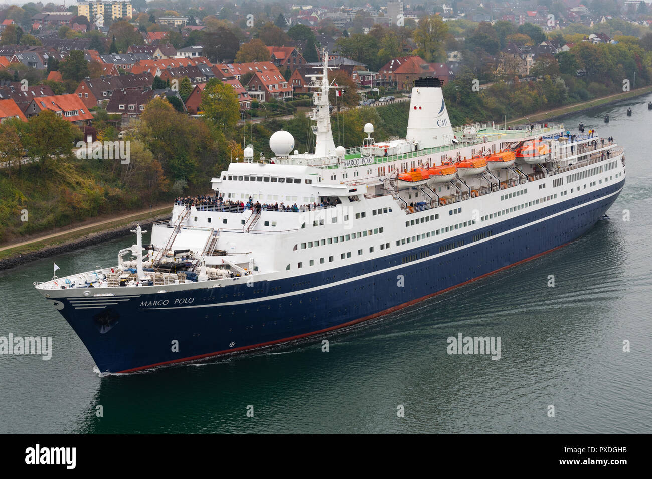 Cruiseship Marco Polo in the Kiel canal - Stock Image