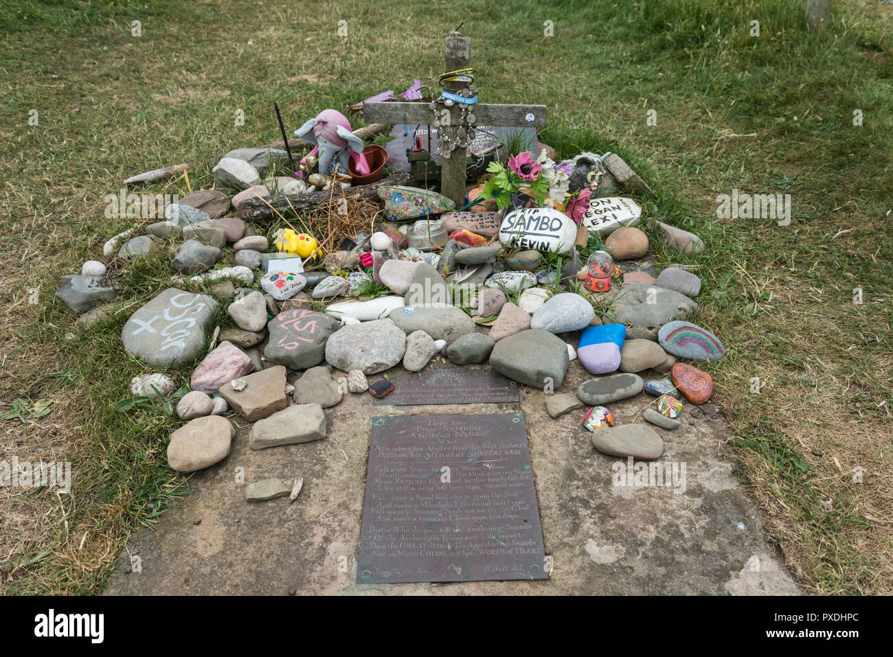 The grave of an 18th Century West Indian negro slave called Sambo at the remote Lancashire village of Sunderland Point, England, UK - Stock Image