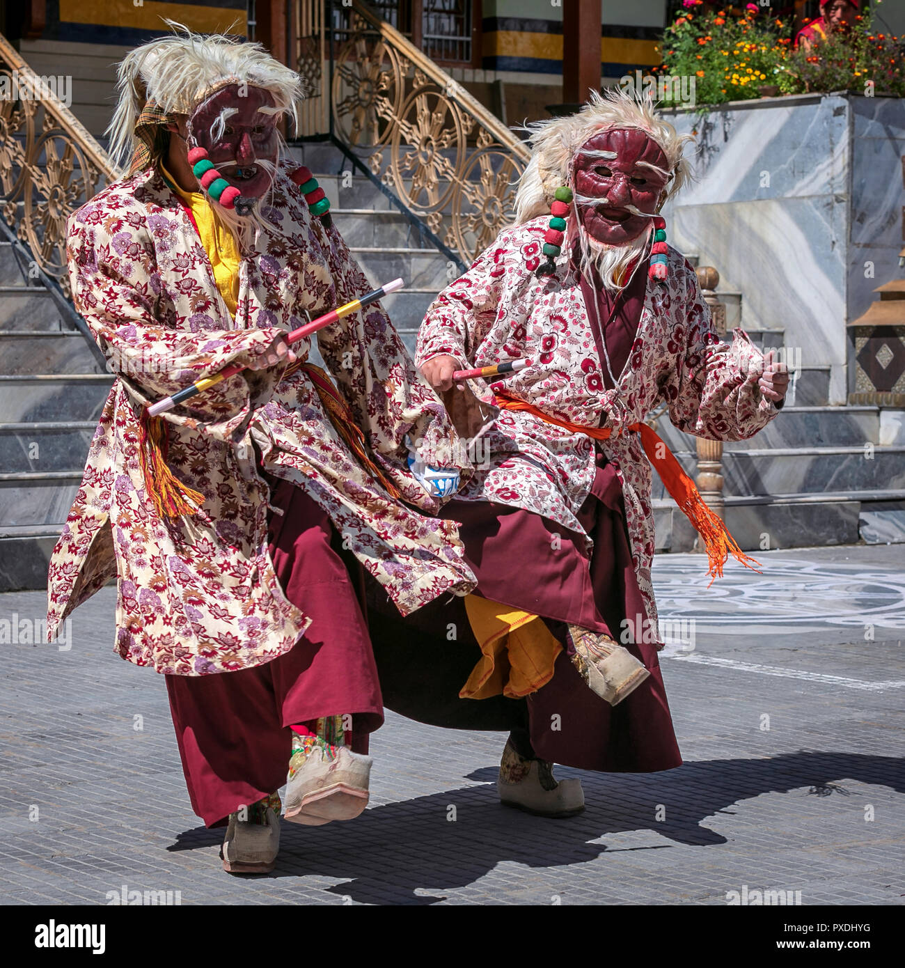 Cham dance performed by monks at Ladakh Jo Khang Temple, Leh, Ladakh, Kashmir, India - Stock Image