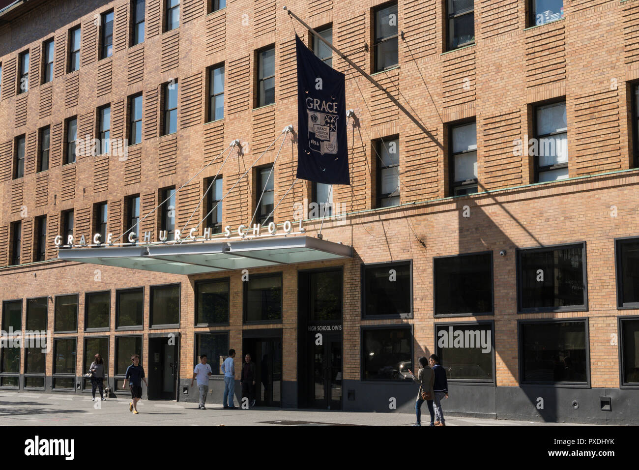 Grace Church School building facade in the East Village, NYC, USA - Stock Image