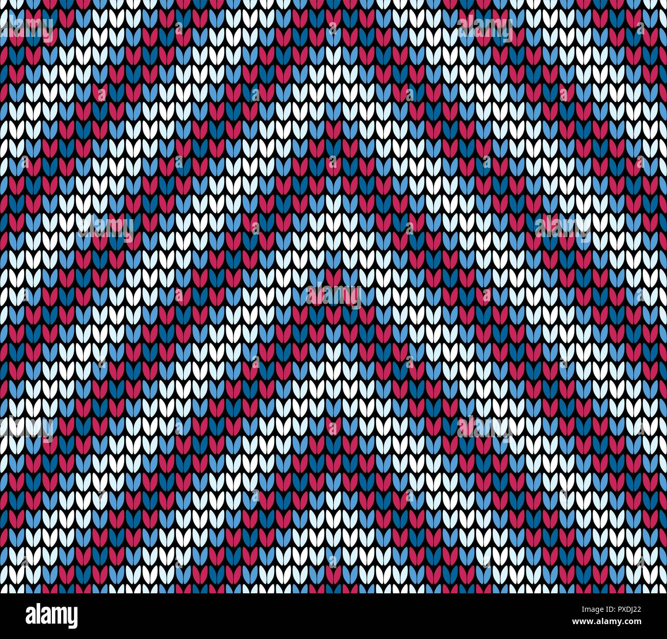 Abstract red and blue seamless knitting pattern background - Stock Vector
