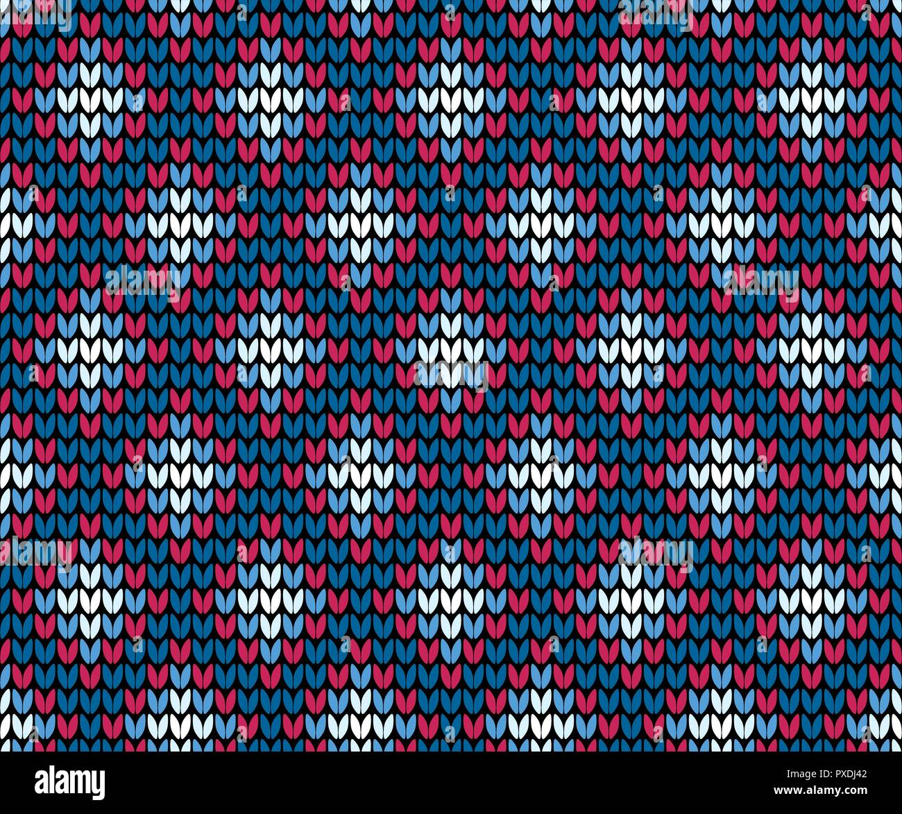 Abstract blue seamless knitting pattern with squares background - Stock Vector