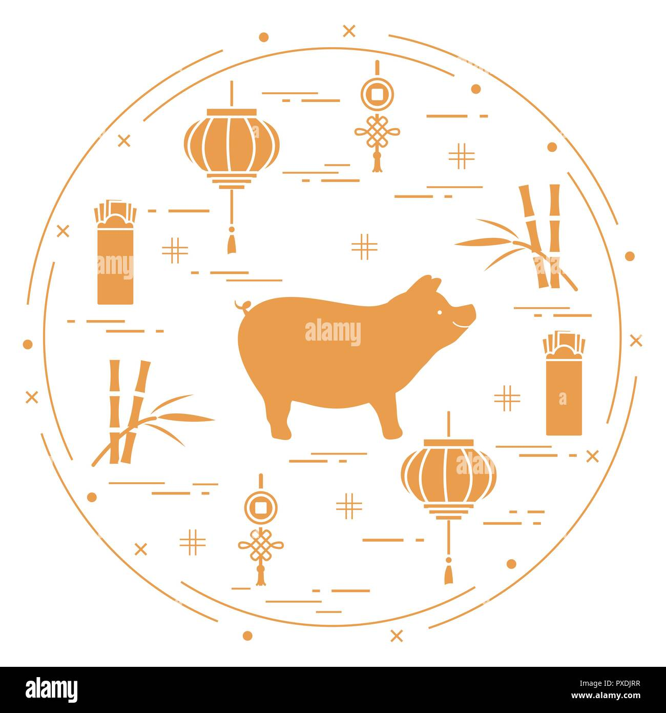 happy new year 2019 card chinese new year symbols pig lantern chinese red envelopes of money bamboo coin for luck festive traditions of differe