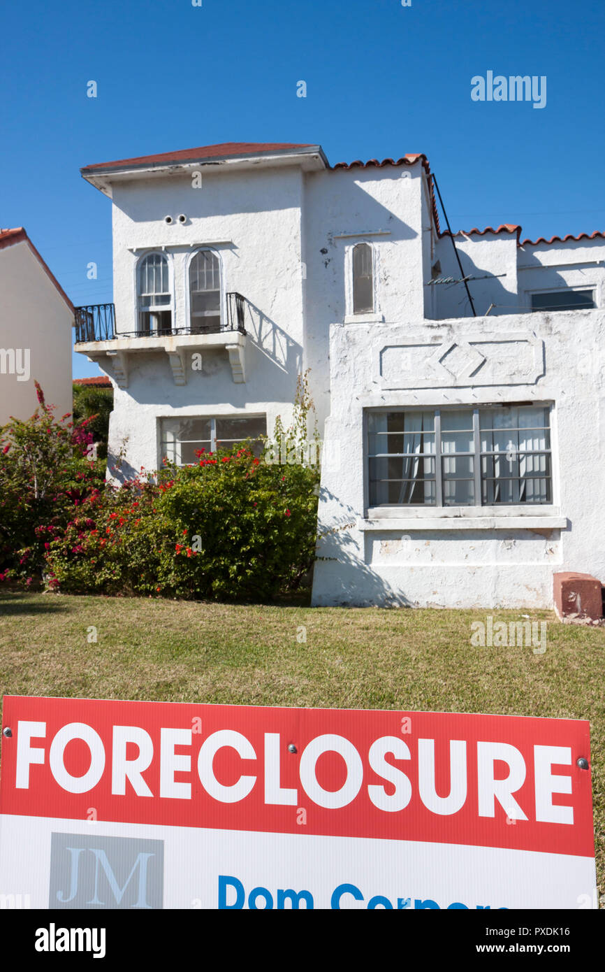 Miami Beach Florida Alton Road house home single-family foreclosure real estate bubble crisis investment asset loss finance loan - Stock Image