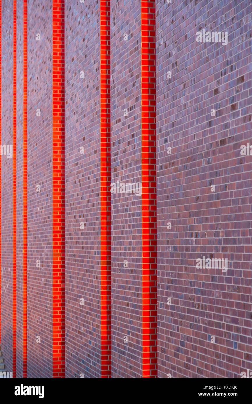 Katowice, Poland: modern brick wall façade of Polish National Radio Symphony Orchestra (NOSPR) Stock Photo