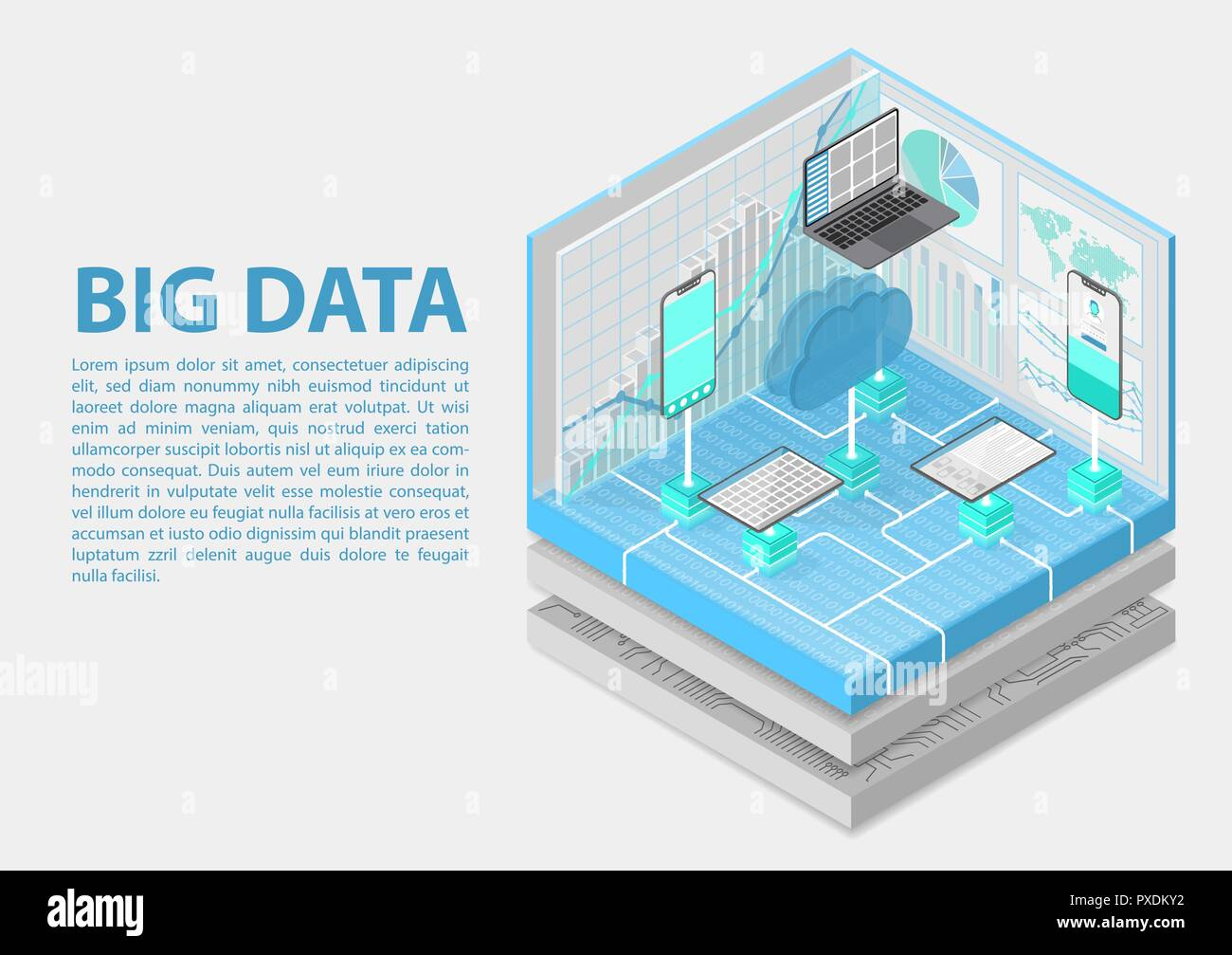 Big Data isometric vector illustration. Abstract 3D infographic with mobile devices and technology infrastructure - Stock Vector