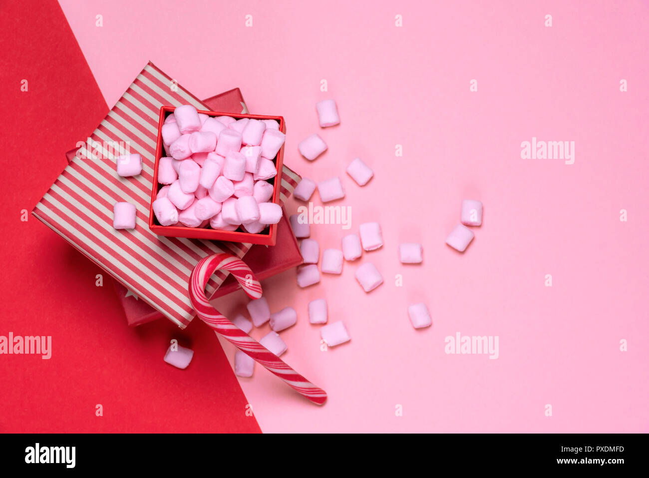 Minimalist Christmas gifts and sweets image with red presents and an ...