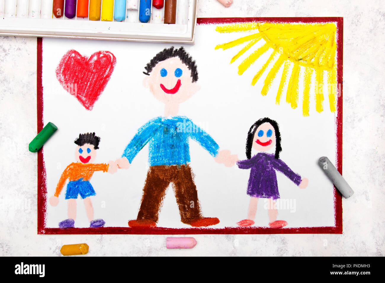 Colorful drawing: Single parenting. Smiling family with father and her two kids: daughter and son. - Stock Image
