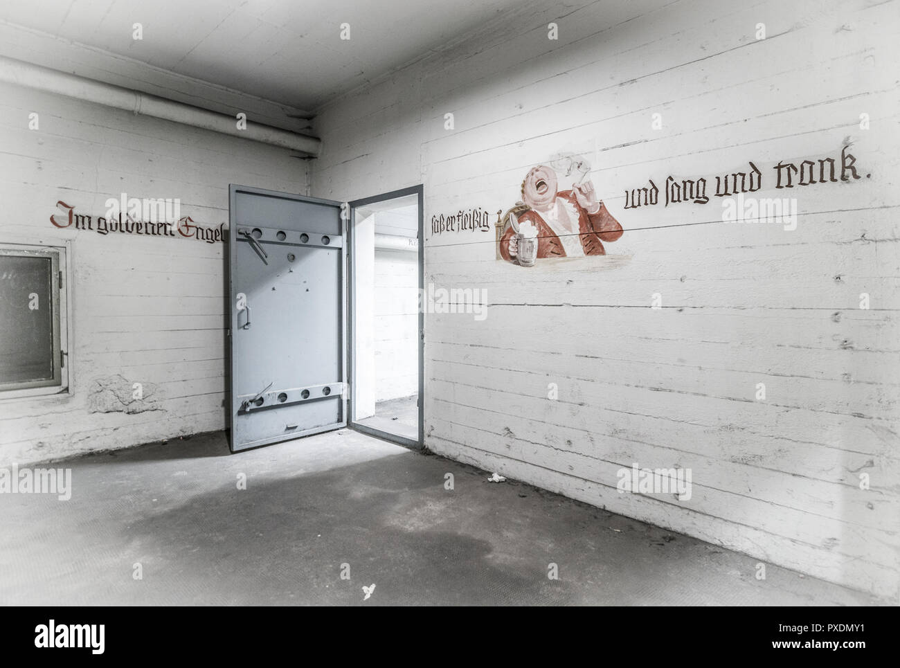 Underground bunker in abandoned Tempelhof Airport , Berlin, Germany - Stock Image
