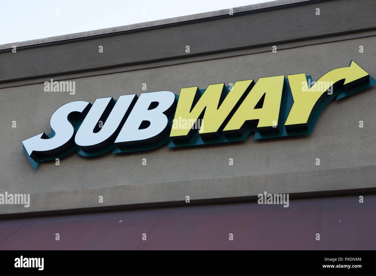 Subway sandwich company  exterior sign and logo on a store in Santa Ana, California,USA - Stock Image