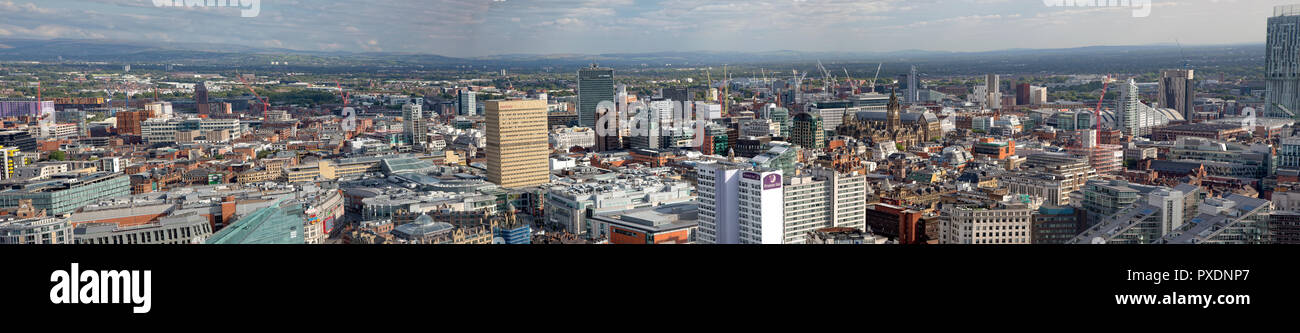High view of Manchester City Center - Stock Image