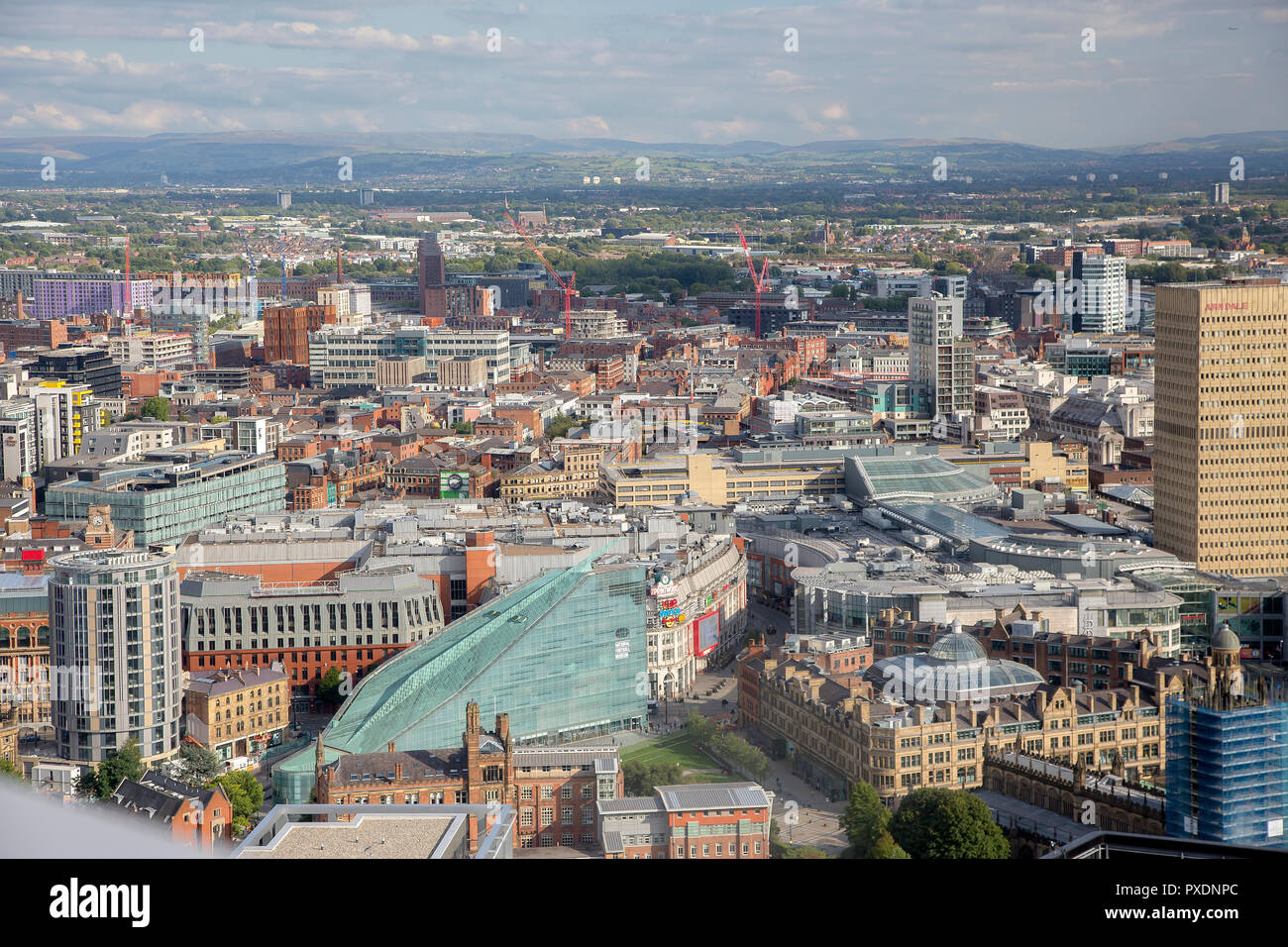 High view of Manchester City Centre - Stock Image