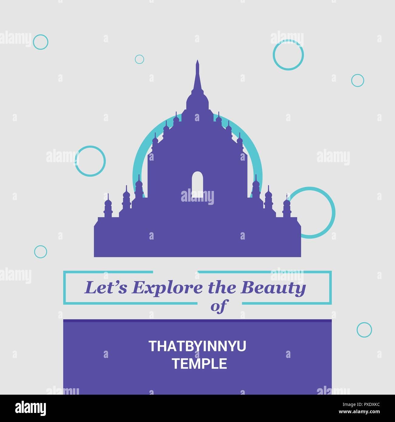 Let's Explore the beauty of Thatbyinnyu Temple, Myanmar National Landmarks - Stock Vector