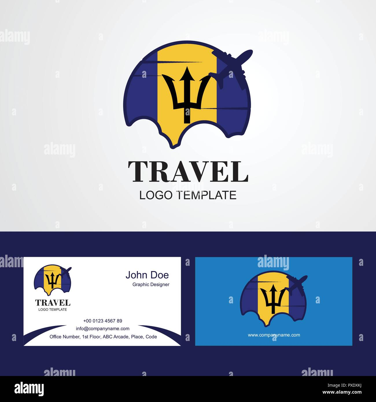 Travel Barbados Flag Logo and Visiting Card Design - Stock Vector