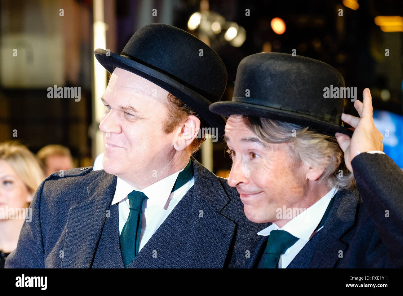 London, UK. 21st Oct 2018. Actors John C. Reilly and Steve Coogan at the London Film Festival Closing Night Gala of STAN AND OLLIE on Sunday 21 October 2018 held at Cineworld Leicester Square, London. Pictured: Steve Coogan, John C. Reilly , as Laurel and Hardy. Picture by Julie Edwards. Credit: Julie Edwards/Alamy Live News - Stock Image
