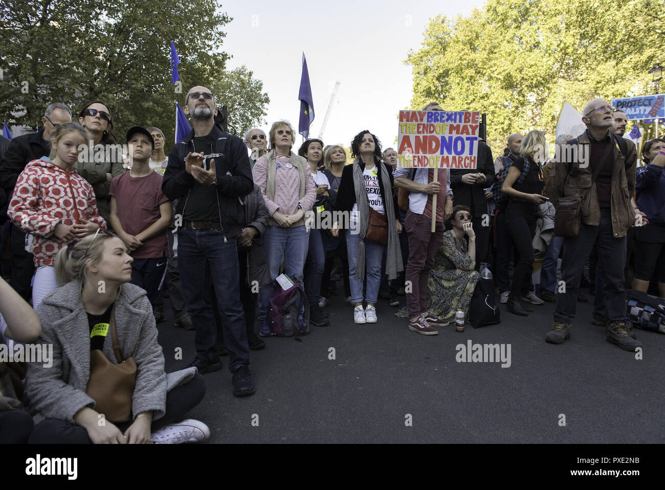 London, Greater London, UK. 20th Oct, 2018. An anti-Brexit protester is seen holding a placard during the march.A huge demonstration organised by the People's vote campaign gathered at Park Lane to march to the Parliament Square to protest against the Tory government's Brexit negotiations and demanding for a second vote on the final Brexit deal. Credit: Andres Pantoja/SOPA Images/ZUMA Wire/Alamy Live News - Stock Image
