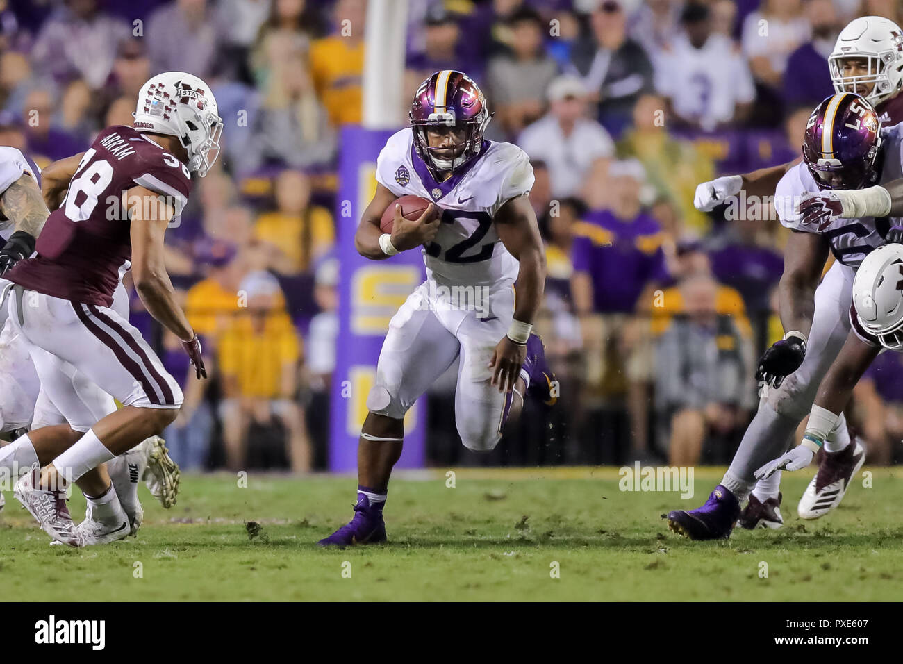 LSU Tigers running back Clyde Edwards-Helaire (22) runs during the game  between the LSU Tigers and Mississippi State Bulldogs at Tiger Stadium in  Baton ... 3785b1a10