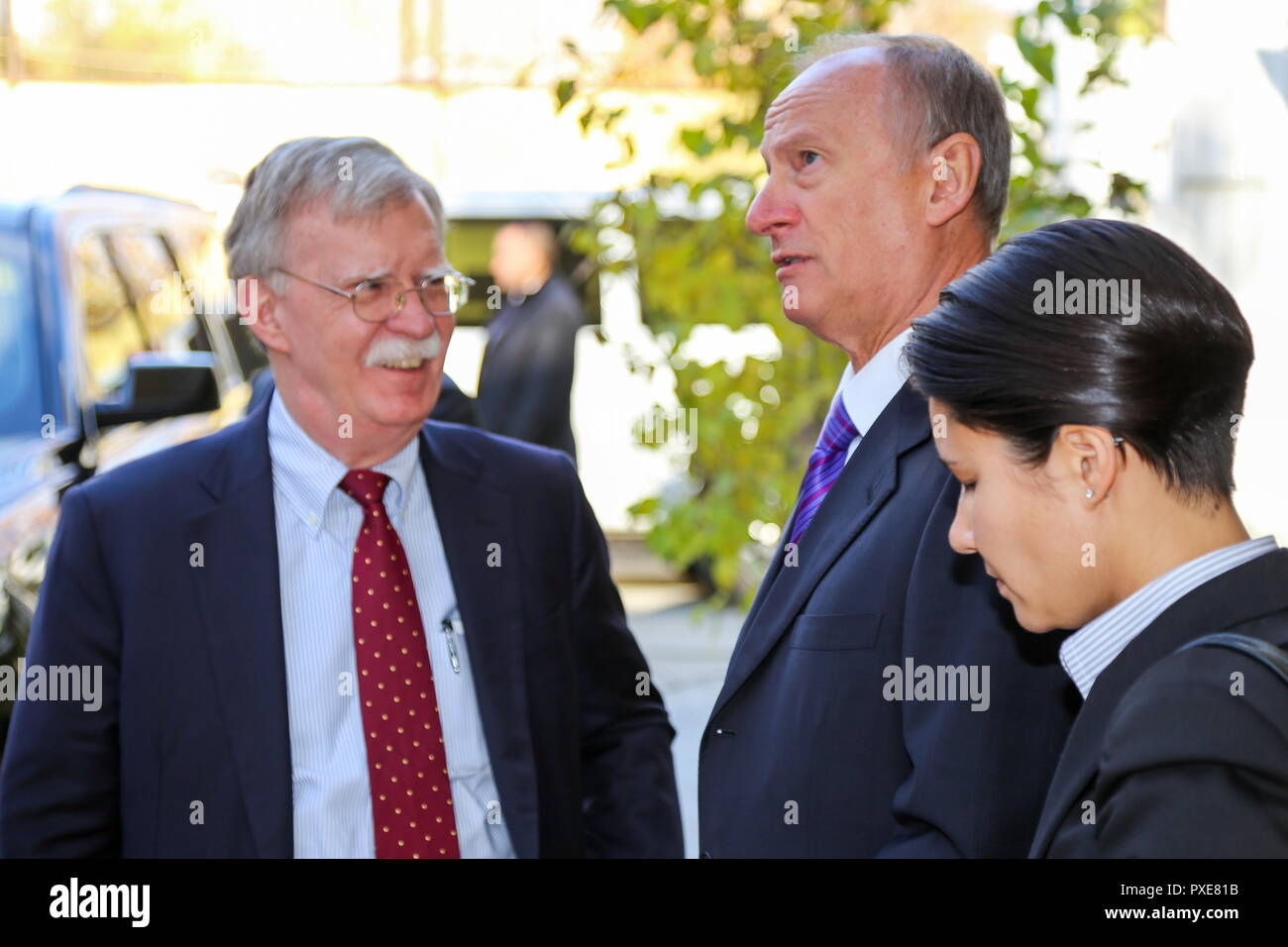 Moscow, Russia. 22nd Oct, 2018. MOSCOW, RUSSIA - OCTOBER 22, 2018: US National Security Adviser John Bolton and Russian Security Council Secretary Patrushev (L-R) during a meeting. Russian Security Council Press Office/TASS Credit: ITAR-TASS News Agency/Alamy Live News - Stock Image