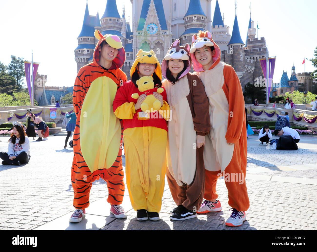 October 22 2018 Urayasu Japan Visitors Dressed In Costumes Of