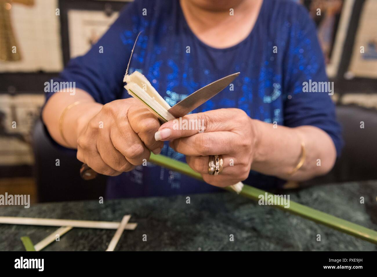 Giza, Egypt. 20th Oct, 2018. A shop assistant peels the stem of a papyrus plant during a demonstration of making papyrus at a souvenir shop in Giza, Egypt, on Oct. 20, 2018. Made from papyrus plant stems, the papyrus was used for writing and drawing on by ancient Egyptians thousands years ago. Nowadays, with the ancient Egyptian writings and Pharaonic drawings, papyrus has always been an interesting souvenir bought by tourists in Egypt. Credit: Meng Tao/Xinhua/Alamy Live News - Stock Image