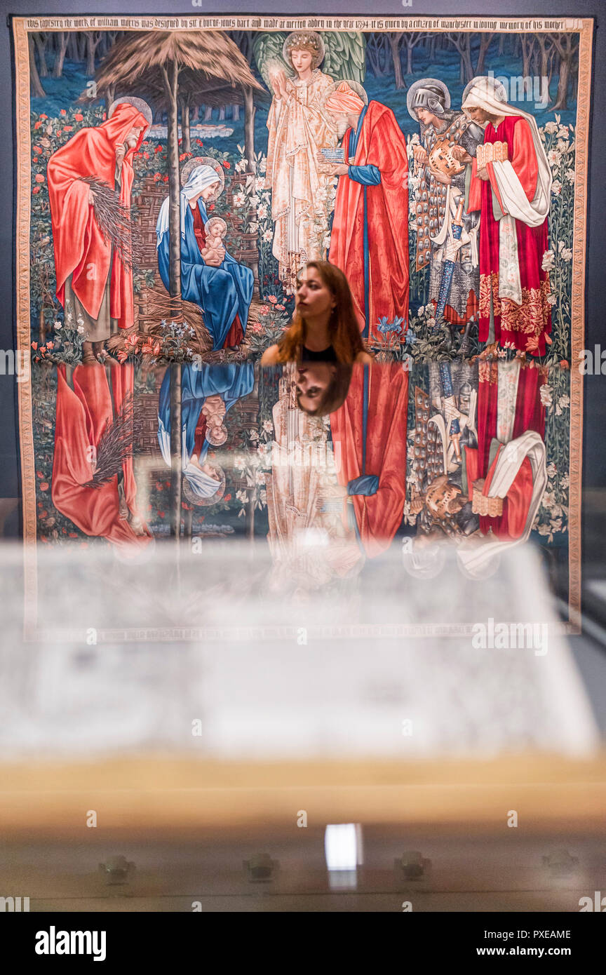 London, UK. 22nd Oct, 2018. Tapestries - A retrospective of Pre-Raphaelite painter Edward Burne-Jones at the Tate Britain. Renowned for otherworldly depictions of beauty inspired by myth, legend and the Bible, Burne-Jones was a pioneer of the symbolist movement and the only Pre-Raphaelite to achieve world-wide recognition in his lifetime. The exhibition brings together 150 works across painting, stained glass and tapestry. It runs from 24 Oct 18 - 24 Feb 19. Credit: Guy Bell/Alamy Live News - Stock Image