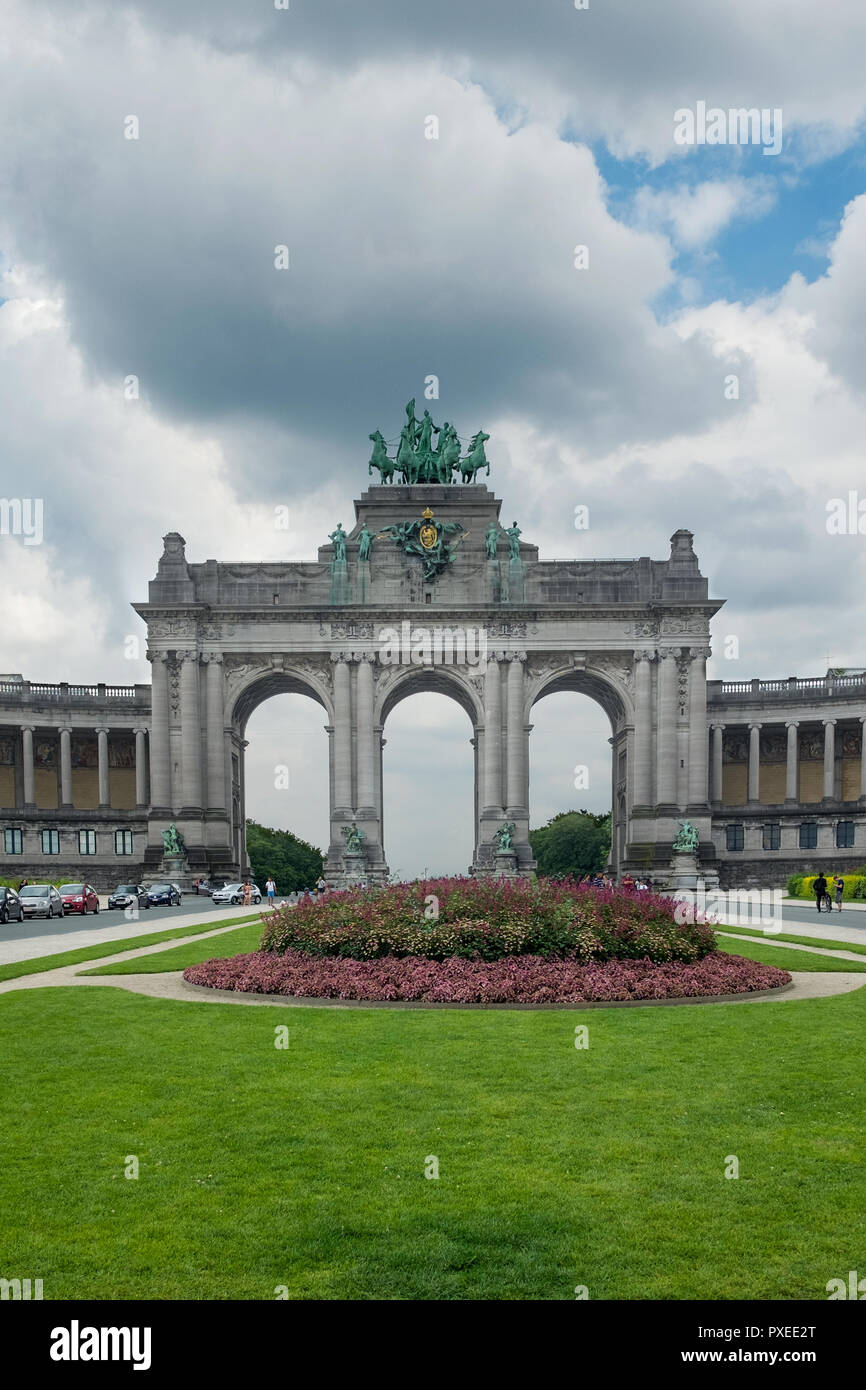 View on the The Triumphal Arch in Cinquantenaire Parc in Brussels, Sunday 17 July 2016, Brussels, Belgium. - Stock Image