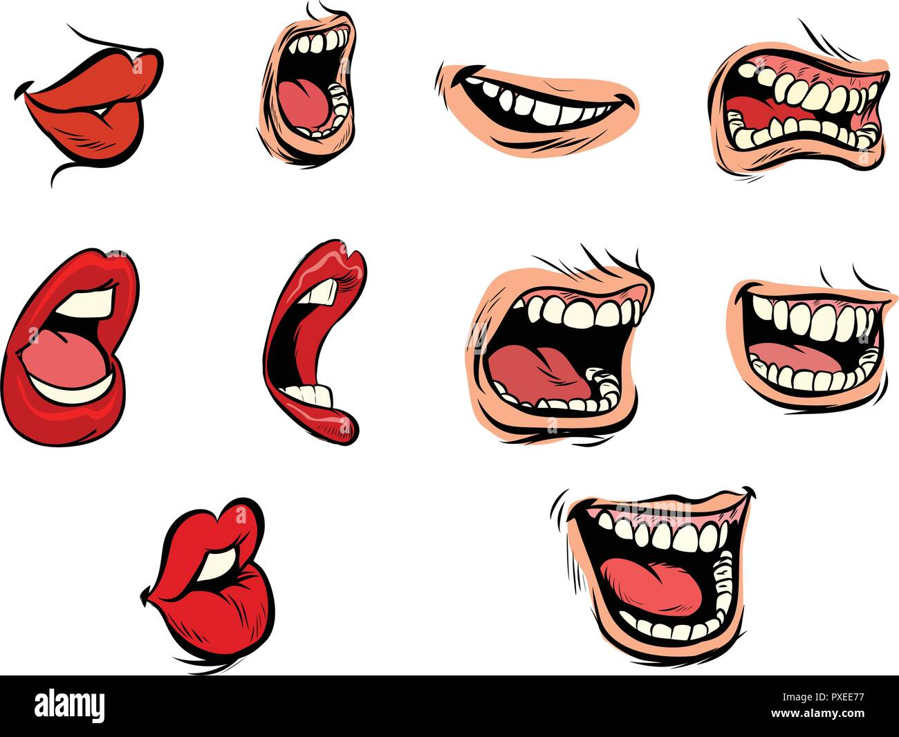 facial expression lips set - Stock Image