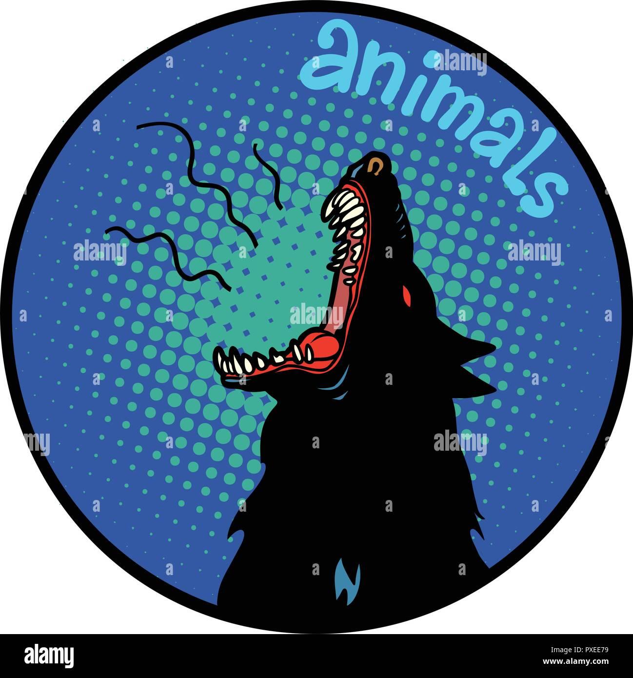 animals wolf howls icon symbol circle emblem - Stock Image