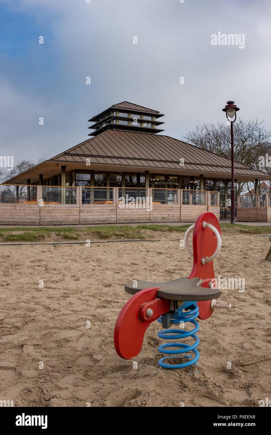 Deserted playground in the center of De Haan, on Saturday 17 February 2017, De Haan, Belgium. - Stock Image