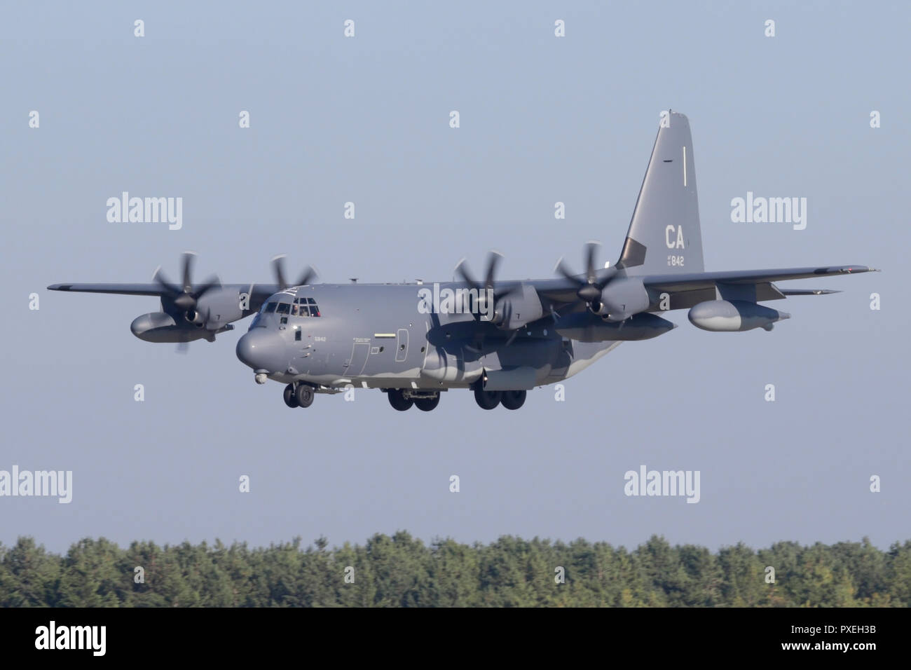 New HC-130J Combat King II assigned to the California Air National Guard at RAF Mildenhall in Suffolk, UK. - Stock Image