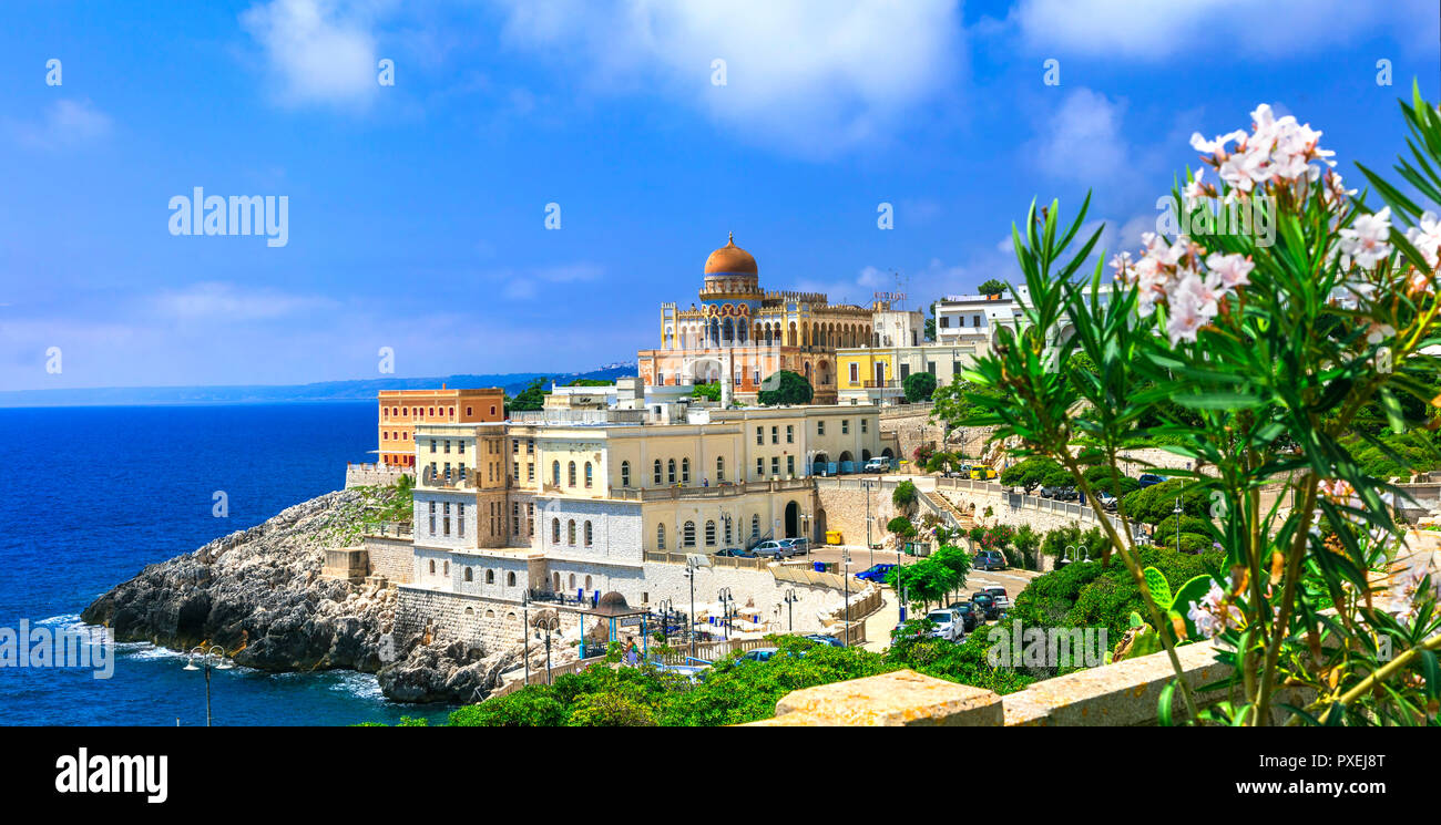 Beautiful Santa  Cersarea Terme village,view with old castle,houses and sea,Puglia,Italy. - Stock Image