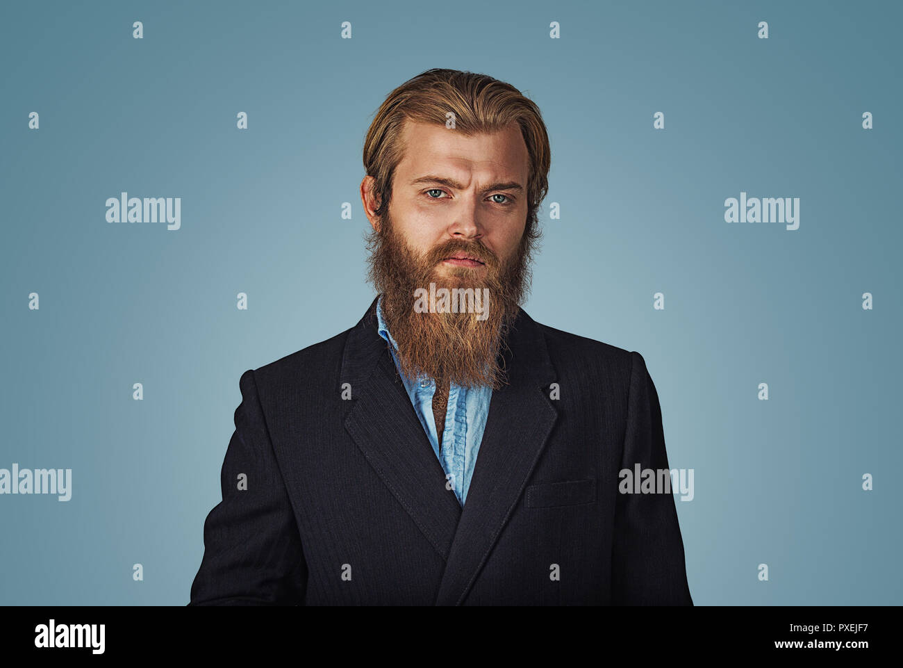 da7f786598a Bearded hipster businessman serious man looking at you camera Isolated on  blue Background. Negative face
