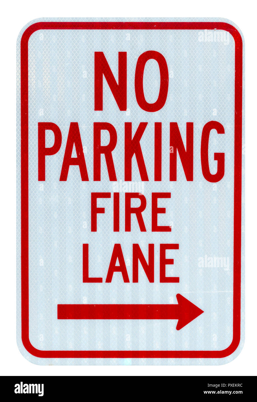 Isolated no parking fire lane sign on white background Stock Photo