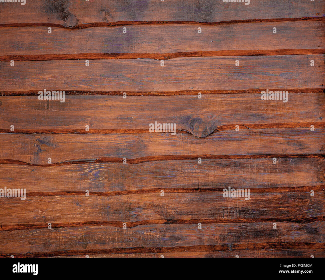 Dark old wooden table texture background top view. - Stock Image