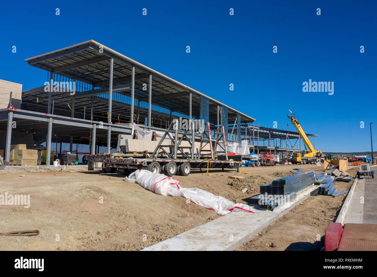 Aerial view of construction site and new structure without walls Stock Photo