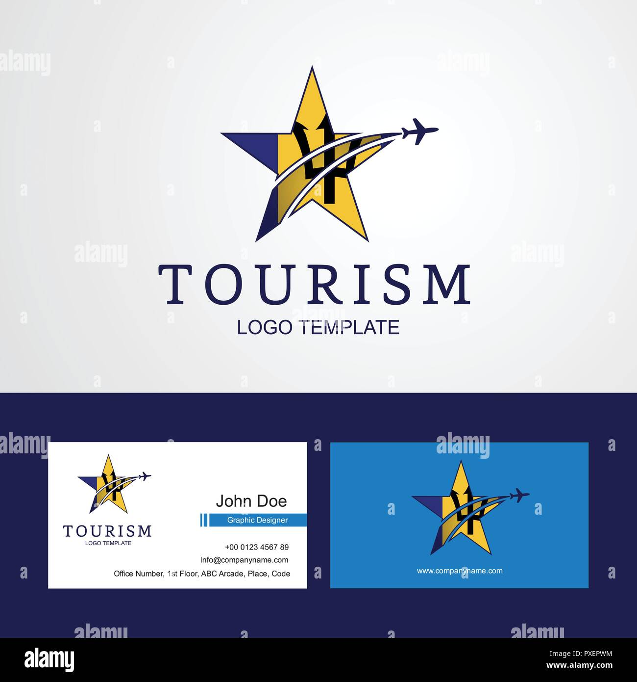 Travel Barbados flag Creative Star Logo and Business card design - Stock Vector