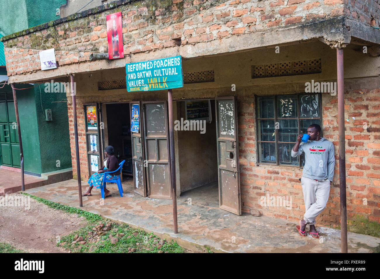 Center for Reformed Poachers and Batwa Cultural Values in Buhoma, Uganda - Stock Image